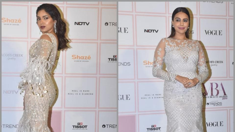 Stunners in white: Bhumi Pednekar and Swara Bhasker at Vogue Beauty Awards 2019.