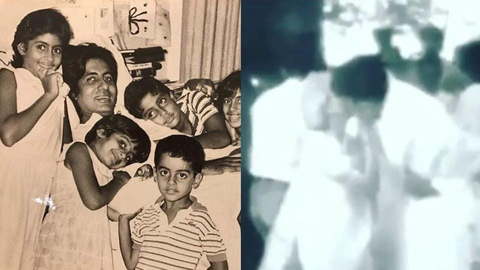 Amitabh Bachchan at the hospital (left) and being welcomed by his mother Teji Bachchan upon his return (right).