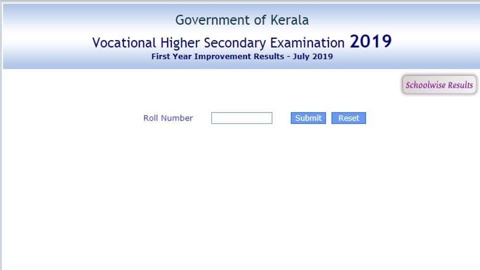 The Kerala Vocational Higher Secondary Examination (VHSE) First Year Improvement Exam Results - July 2019 was released on Friday.
