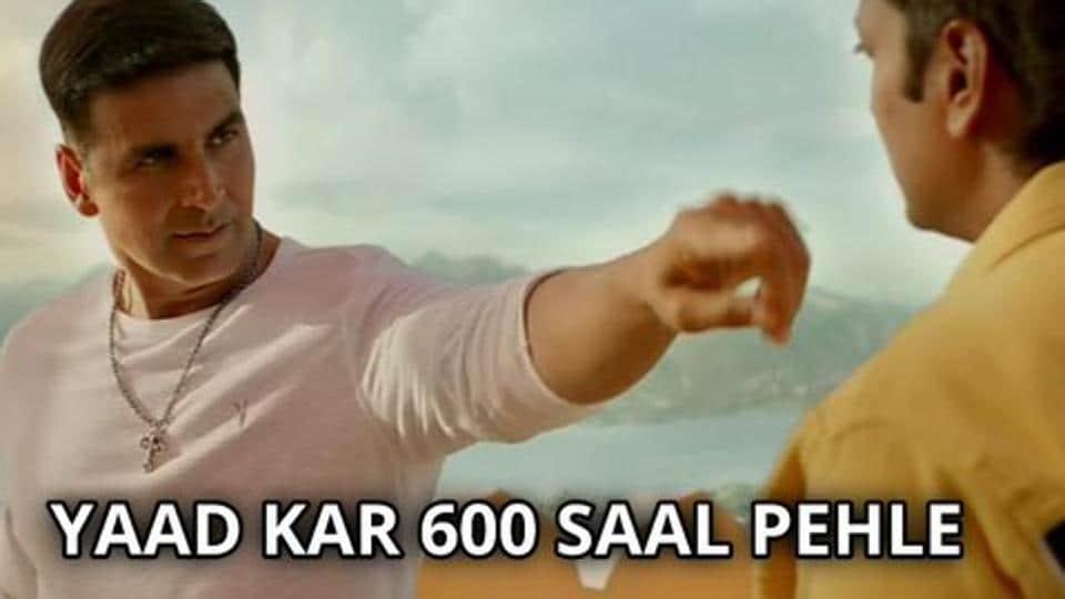 Akshay Kumar in a popular meme template for Housefull 4.