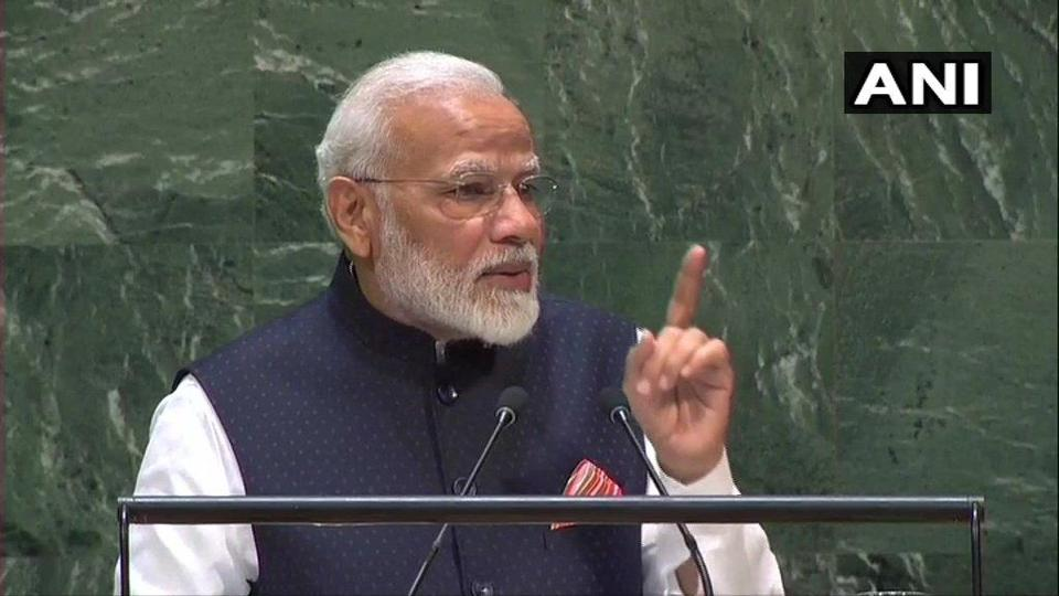 Prime Minister Narendra Modi making a point during his United Nations General Assembly address