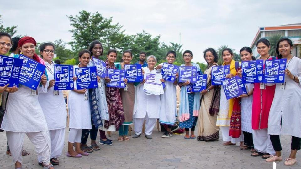 The social outreach program that preceded the campaign involved volunteers visiting over 7,000 villages and interacting with 2.7 lakh people in the Cauvery basin.