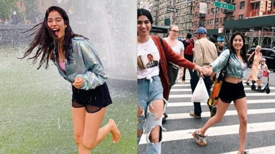 Janhvi Kapoor enjoys in a fountain (left) and goes shopping with sister Khushi Kapoor in New York (right).