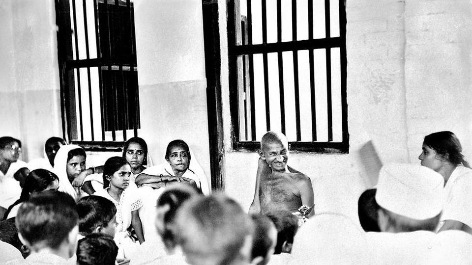 Mahatma Gandhi with Sabarmati ashramites.
