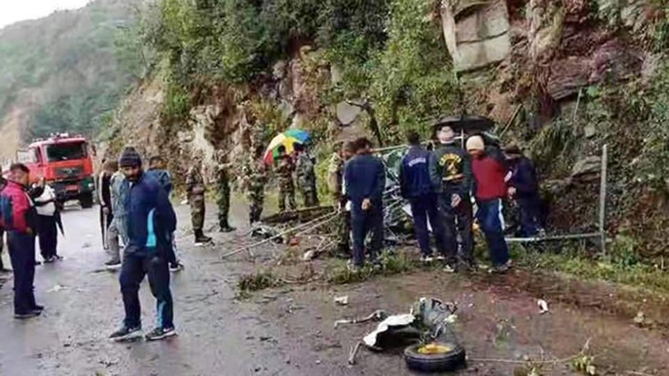 The site where the Indian Army helicopter  crashed in Bhutan.