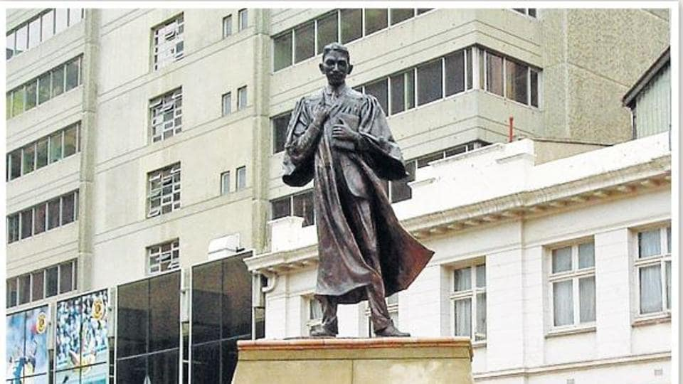 The Gandhi statue in Johannesburg that political party Economic Freedom Fighters sought to remove.