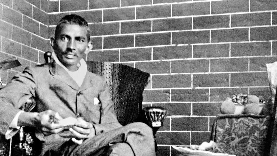 Gandhi recovering after being beaten up by a fellow Indian who felt that Gandhi had made a wrong compromise with South African officials, 1908
