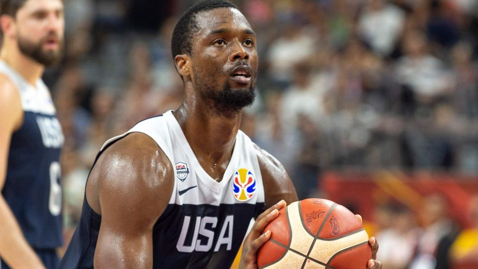 Harrison Barnes of the US shoots a free-throw.