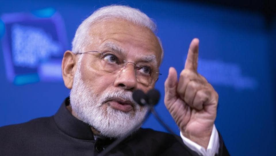 Indian Prime Minister Narendra Modi speaks at the Bloomberg Global Business Forum, Wednesday, Sept. 25, 2019, in New York.