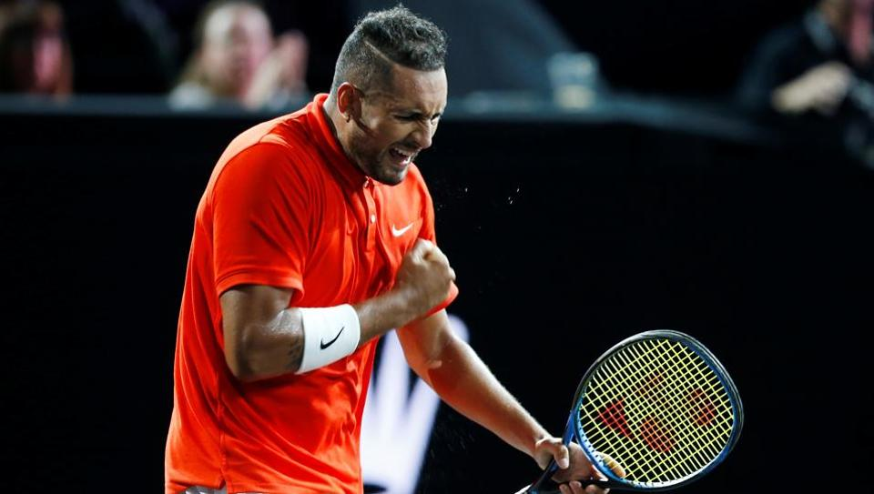 Nick Kyrgios celebrates during his singles match against Team Europe's Roger Federer at the Laver Cup.