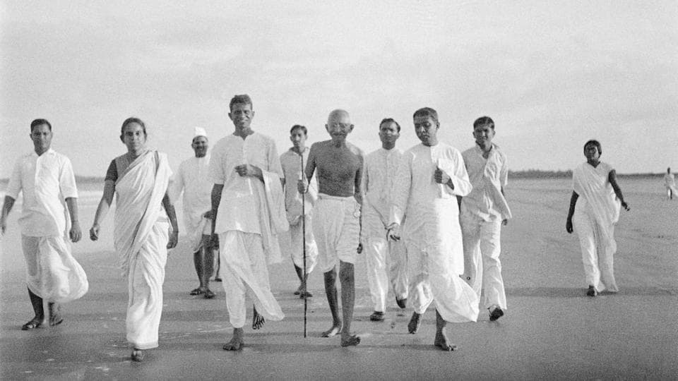 Mahatma Gandhi on an evening walk at Juhu beach in May 1944.