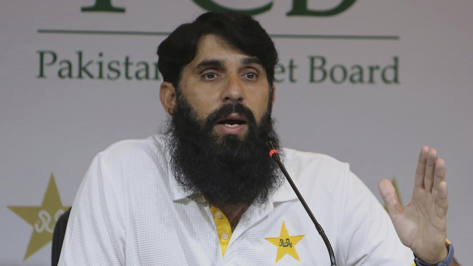 Misbah-ul-Haq, head coach and chief selector of Pakistan Cricket during a press conference.