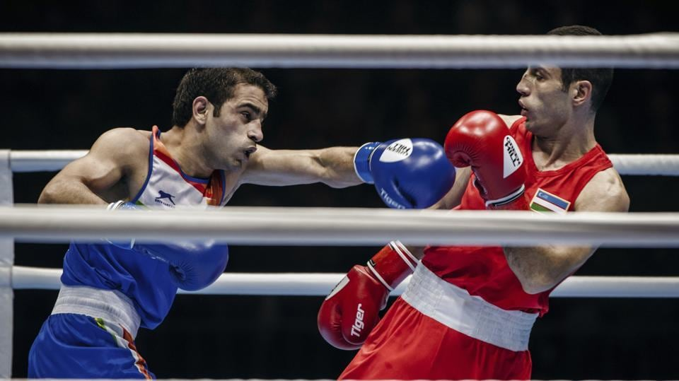 India's Amit Panghal during the flyweight final of the AIBA World Boxing Championships in Yekaterinburg, Russia.