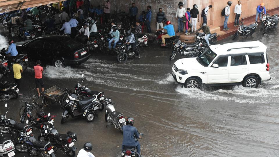 Incessant rain caused water-logging in many areas, badly affecting traffic movement.