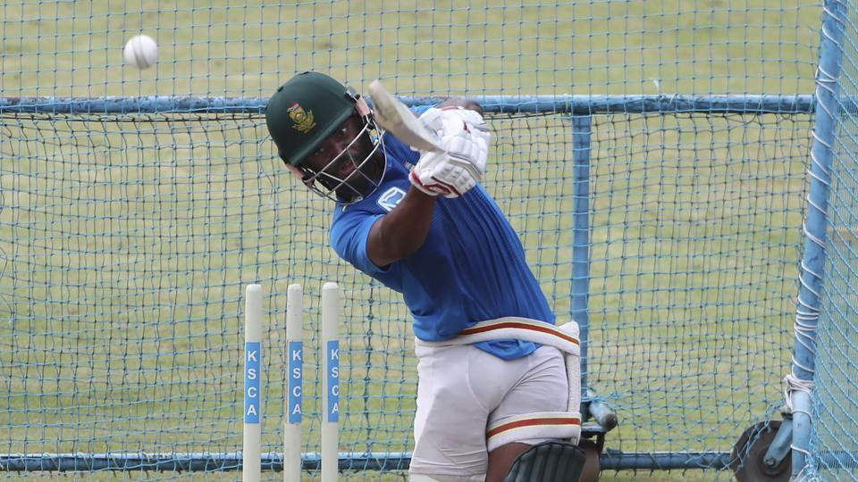 South Africa's Temba Bavuma bats in the nets during a training session