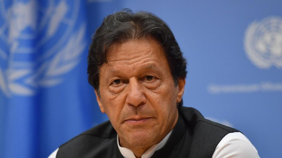 Pakistani Prime Minister Imran Khan at the United Nations Headquarters in New York on September 24, 2019