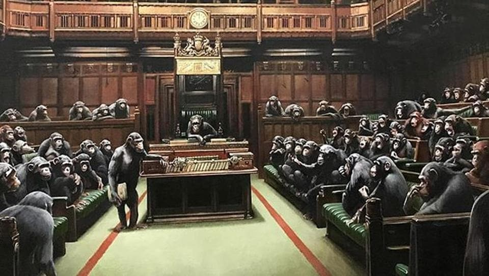 Banksy painting of primates in parliament up for auction.