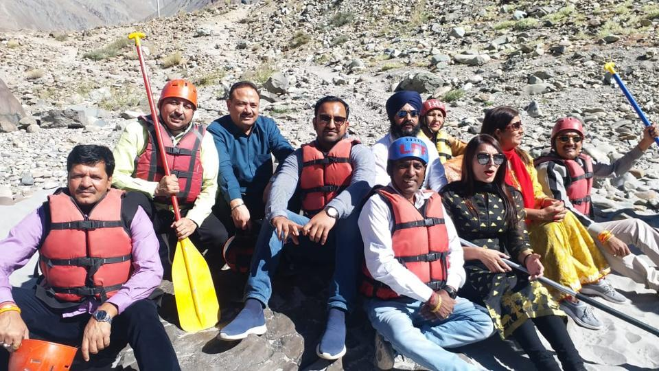 Mayor Rajesh Kumar Kalia with MCcouncillors after water rafting in Leh on Wednesday. The tour has been organised at an expense of ₹11 lakh.