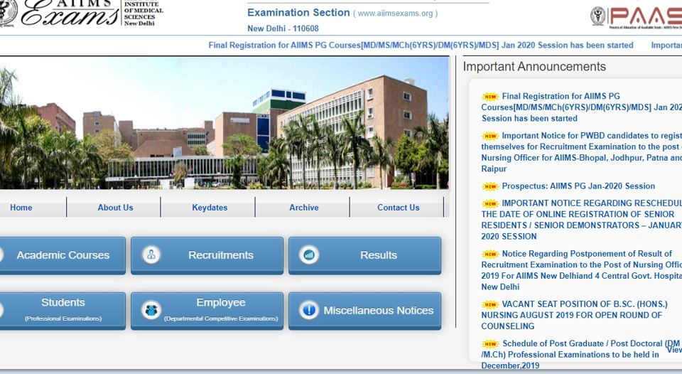 AIIMS PG admission 2020