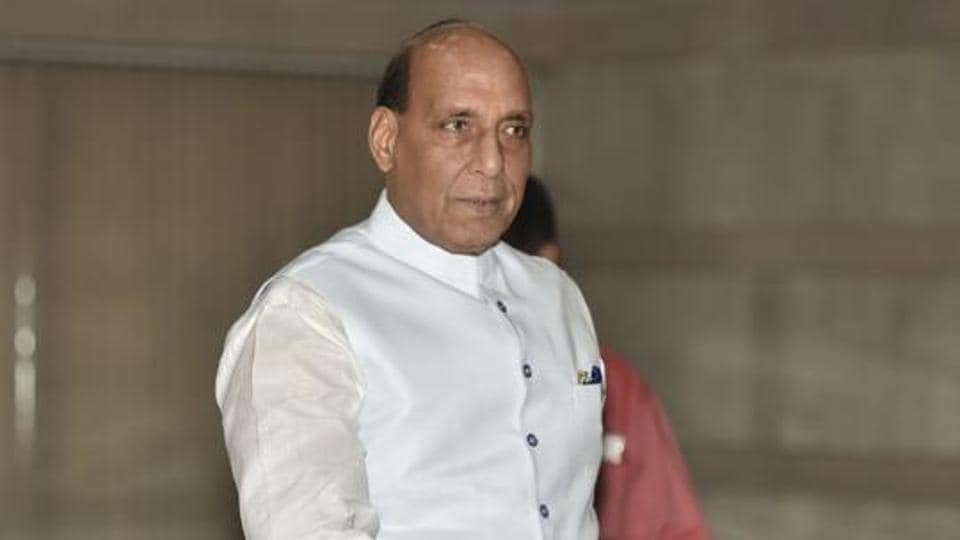 Defence Minister Rajnath Singh arrives for the BJP Parliamentary party meeting at Parliament library building in New Delhi.