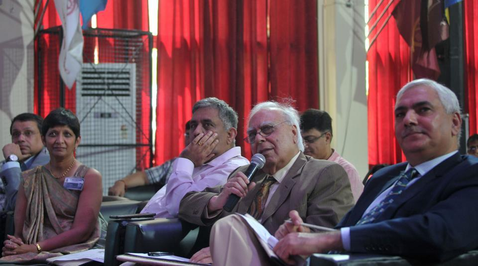 Senior congress leader Kapil Sibal judging the debate competition at St John's School in Sector 26, Chandigarh, on Saturday.