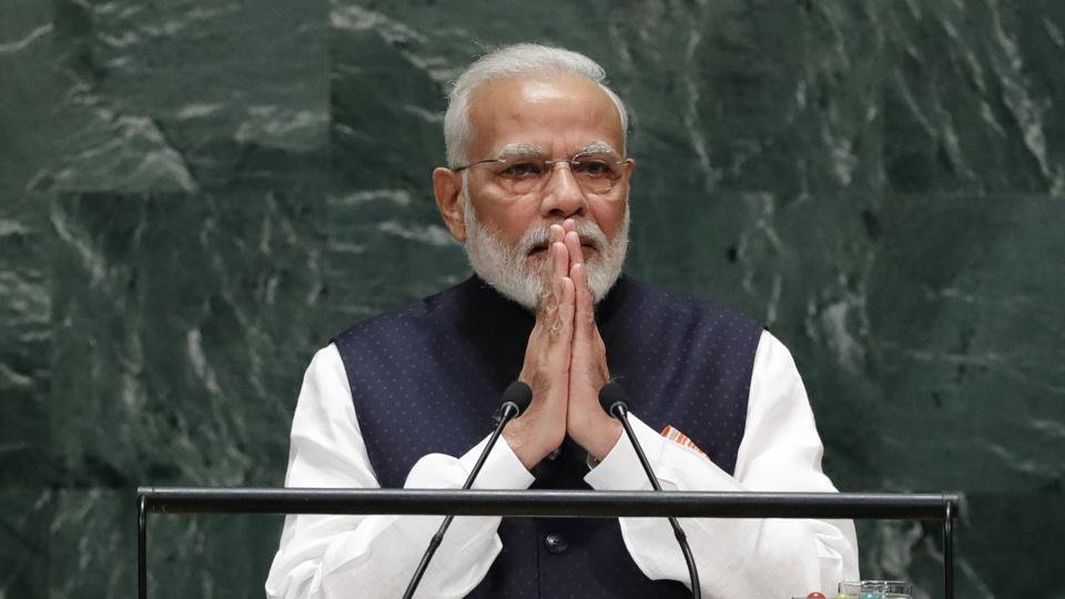 PM Narendra Modi addresses the 74th session of the United Nations General Assembly at U.N. headquarters in New York, U.S., September 27, 2019.