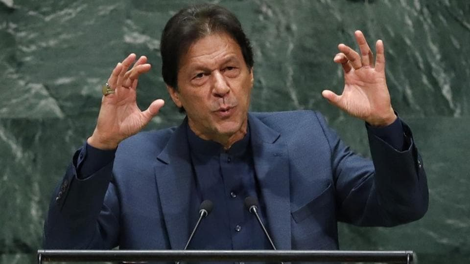 Pakistan PM Imran Khan addresses the 74th session of the United Nations General Assembly at U.N. headquarters in New York, U.S., September 27, 2019.