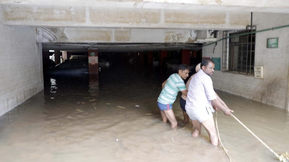 The Treasurer Park society's underground parking went completely under water on Wednesday as the retaining wall of the nullah (canal) in the area collapsed water flowed into the society due to the incessant rains.