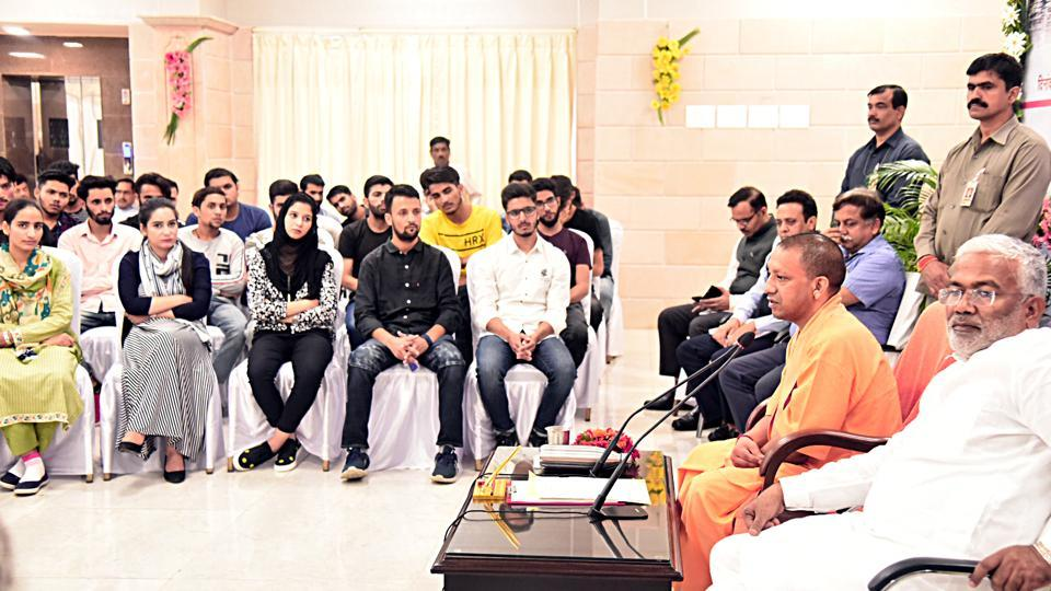 Chief Minister Yogi Adityanath speaking during meeting the students from Jammu and Kashmir, at his residence in Lucknow on Saturday.