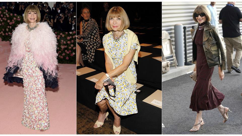 This combination photo shows, from left, Anna Wintour at The Metropolitan Museum of Art's Costume Institute benefit gala celebrating the opening of the