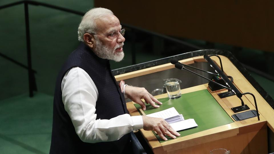 As Prime Minister Narendra Modi reached the United Nations for his speech on Friday, a gathering of thousands of people from the Indian-American community gathered outside with  festive cheer