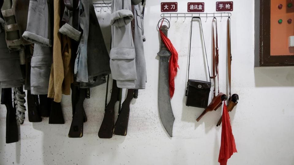 Costumes and replica weapons are stored backstage before a performance of the stage show 'Yanan Nursery' in Yanan. President Xi Jinping features more prominently in headlines in the official People's Daily newspaper than other top members of the political elite compared with past leaders like Jiang Zemin, said Xiao Qiang, the founder of China Digital Times, a US-based news site covering China. (Jason Lee / REUTERS)