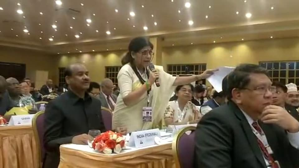 BJPMPRoopa Ganguly making India's point at  the 64th Commonwealth Parliamentary Conference in Uganda.