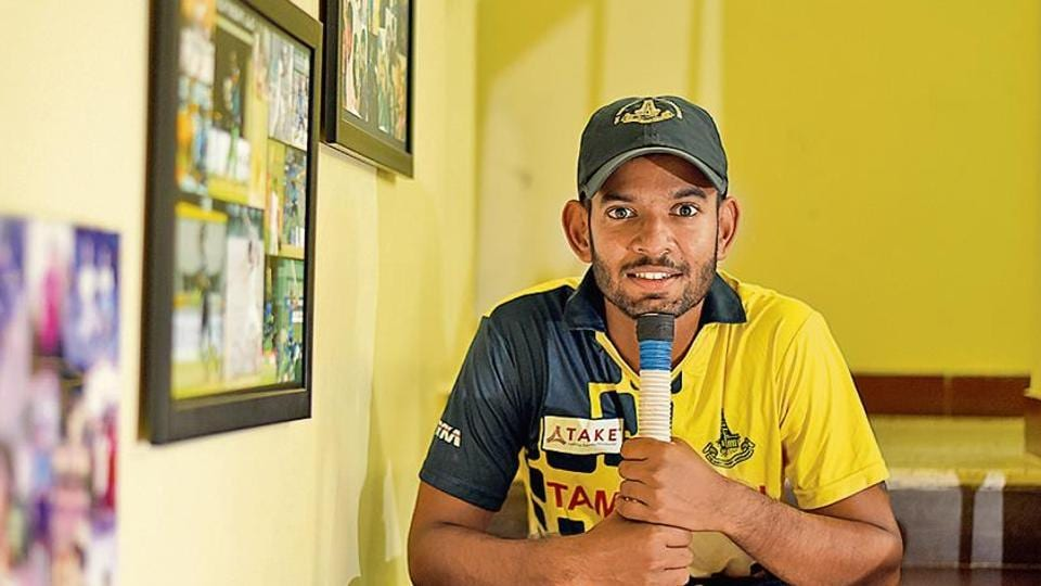 Indian software developer and Cricketer Kaushik Gandhi poses for a picture at his residence in Chennai