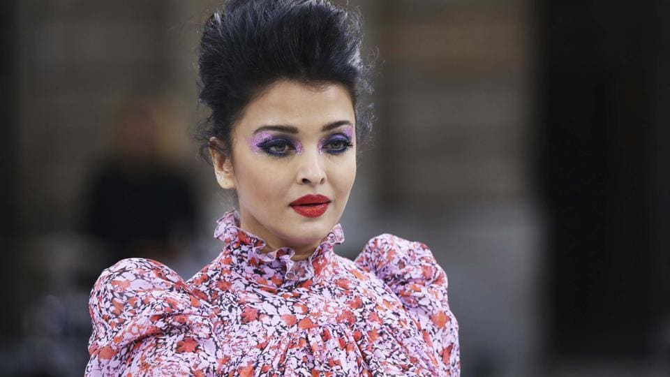 Aishwarya Rai wears a creation as part of the L'Oreal Ready To Wear Spring-Summer 2020 collection, unveiled during the fashion week, in Paris.