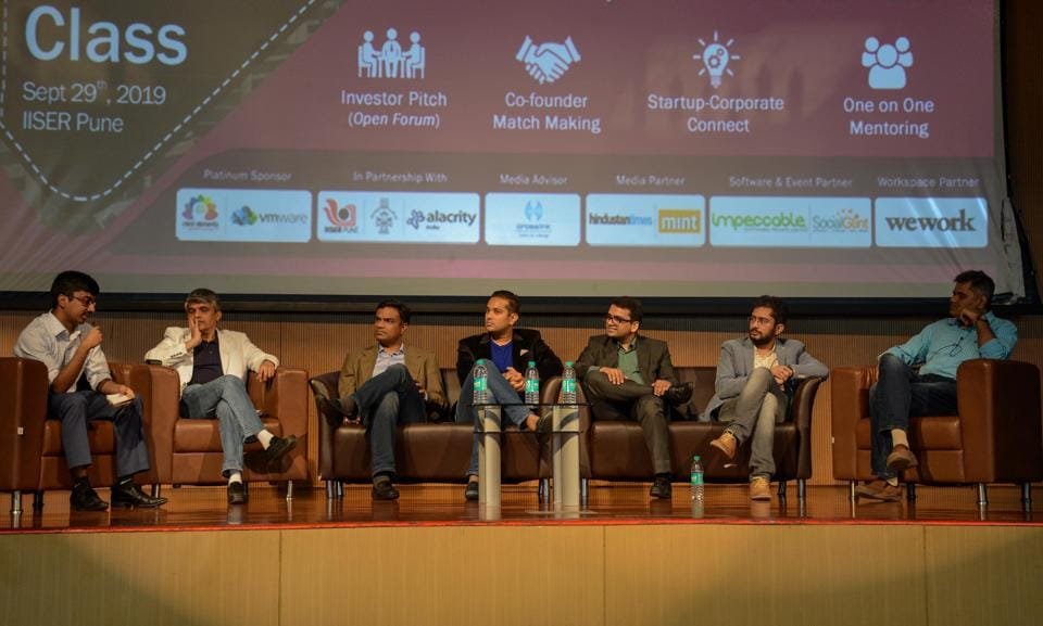 (From left) Aviral Bhatnagar, Girendra Kasmalkar, Vaibhav Domkundwar, Piyush Surana, Rohit Goyal, Manish Kumar and Mahinder Chugh during the panel discussion on raising your first seed fund at Startup Master Class, IISER, Pashan in Pune, on Sunday.