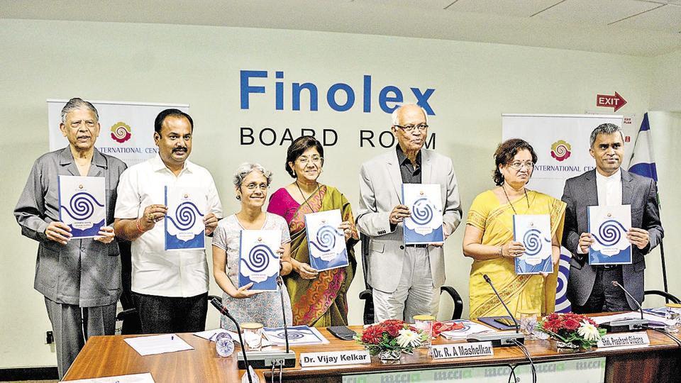 (From left) Vijay Kelkar, Prashant Jagtap, Vinita Tatke, Vandana Chavan, Raghunath Mashelkar, Mukta Tilak and Prashant Girbane during the release of policy paper on Progressive Maharashtra : Policy road map 2019-2024 at MCCIA on Saturday.