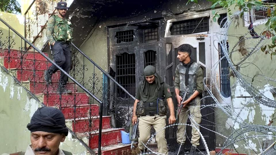 Security forces personnel after an encounter with the terrorists at Batote in Ramban district of Jammu and Kashmir, Saturday, Sept. 28, 2019.