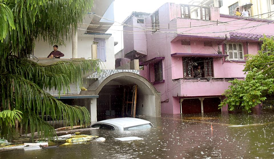 Houses submerged in water in after heavy rains continued to lash Bihar for the third day on Sunday. (ani photo)