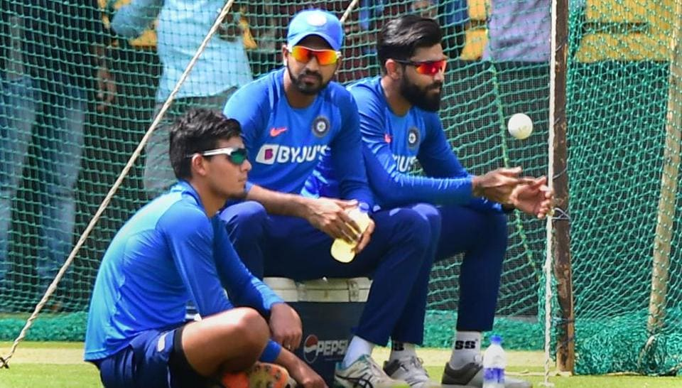 Indian cricketers Ravindra Jadeja, Krunal Pandya and Rahul Chahar during a practice session