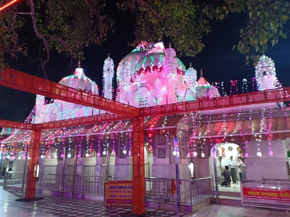 An illuminated Mata Mansa Devi Temple on the eve of Navratra in Panchkula on Saturday