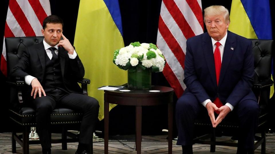 Ukraine's President Volodymyr Zelenskiy listens during a bilateral meeting with U.S. President Donald Trump on the sidelines of the United Nations General Assembly in New York City.