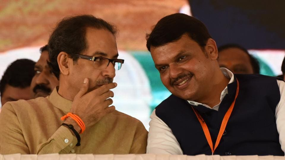 Maharashtra CM Devendra Fadnavis with Shiv Sena chief Uddhav Thackeray. BJP and Shiv Sena are likely to announce their seat-sharing deal for the upcoming assembly elections on Sunday.