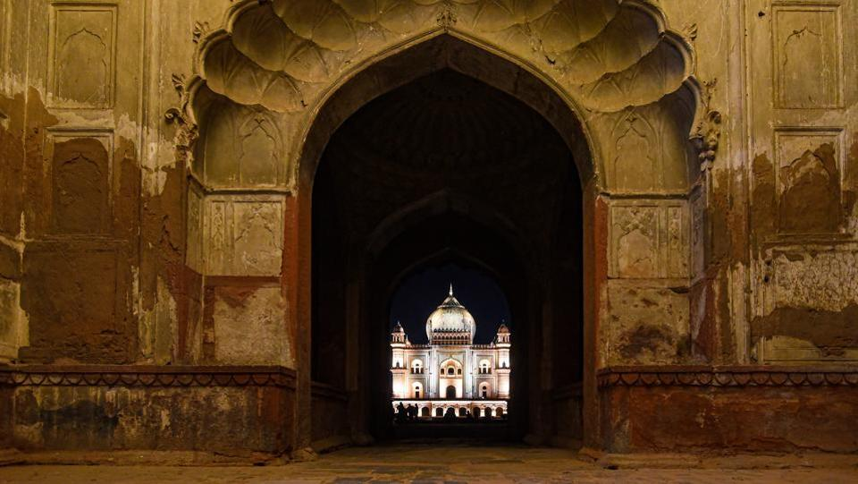 "Humayun's Tomb and Safdarjung Tomb (pictured), meanwhile, have been receiving merely 5-10 tourists daily after 6pm since August, when the hours were extended. Heritage enthusiast Vikramjeet Singh Rooprai said people were happy to see the monuments ""glittering like pieces of gold,"" and that footfall should increase once awareness spreads about the illumination. (Amal KS / HT Photo)"