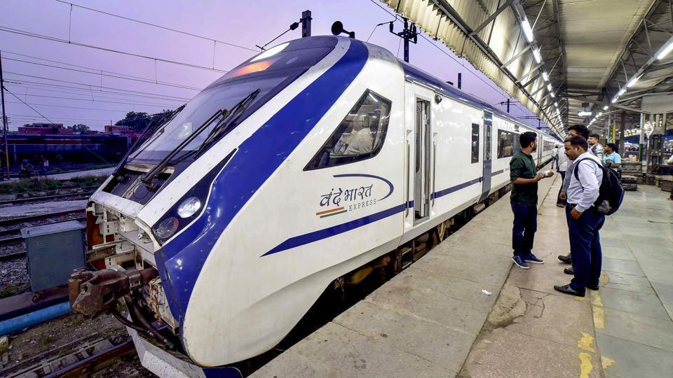 The Vande Bharat Express, during its trial run between Delhi and Katra, halts at Ludhiana Railway Station, Monday, July 22, 2019.