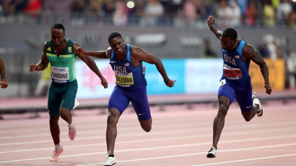 Christian Coleman of the U.S. wins the 100 Metres final at World Athletics Championships.