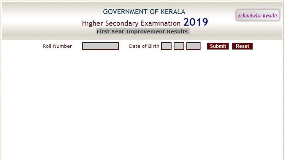 Department of Higher Secondary Education, Kerala on Monday declared the first year improvement results of Higher secondary examination 2019.