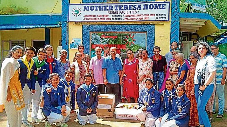 School students in Mumbai visit old-age homes.
