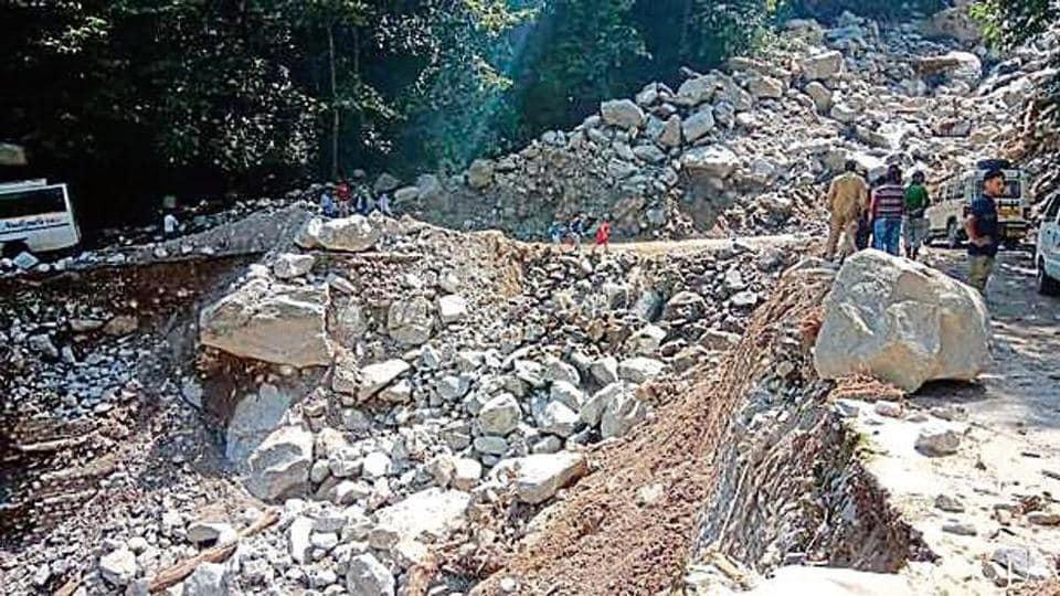 Landslide on Badrinath Highway.