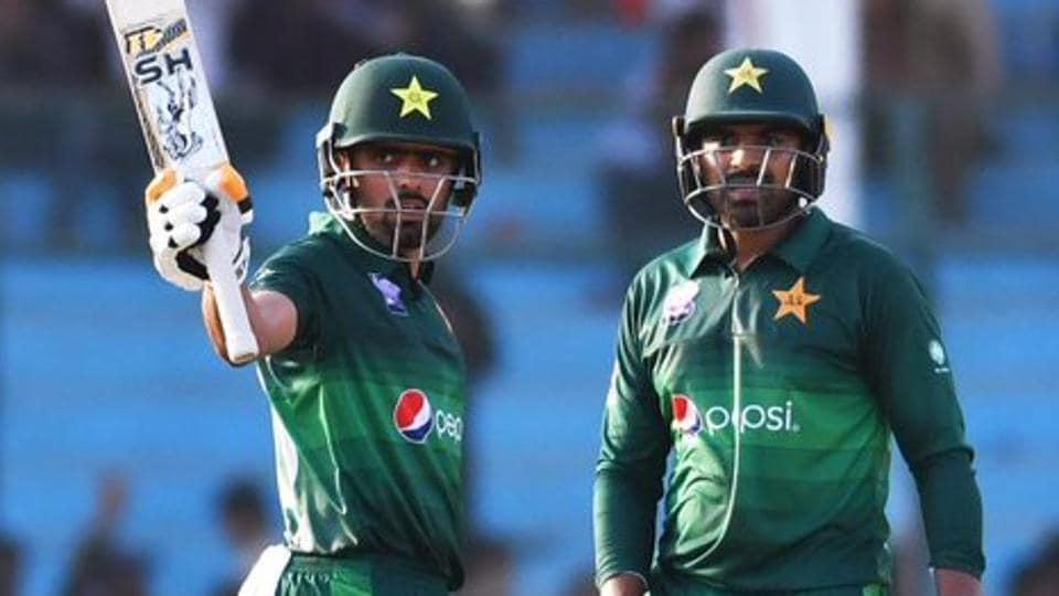 Pakistan's Babar Azam celebrates after scoring a half century.